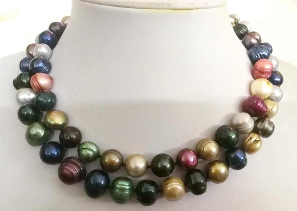 2 rangées 11x14mm noir rouge vert coloré baroque perle d'eau douce collier ras du cou 14 ''15'' 17 ''35 cm 40cm femme bijoux