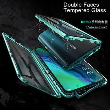 Перейти на Алиэкспресс и купить Для Oppo Reno3 Pro Reno2 Z F Reno ACE Reno4 Pro, магнитный металлический бампер для Find X2 Pro K5, двухсторонний стеклянный чехол для телефона