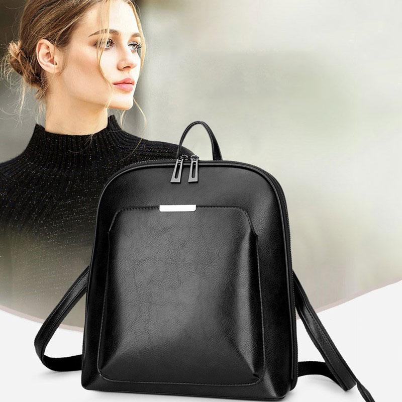Backpacks Women PU Leather Fashion Black Bag  Fashion Knapsacks  Big Capacity Backpack For Women Laptop Anti Theft Backpack