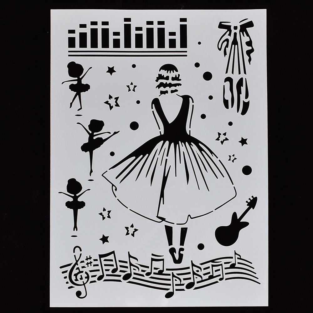 1PC Musical Ballet Girl Shaped Reusable Stencil Airbrush Painting Art DIY Home Decor Scrap Booking Album Crafts