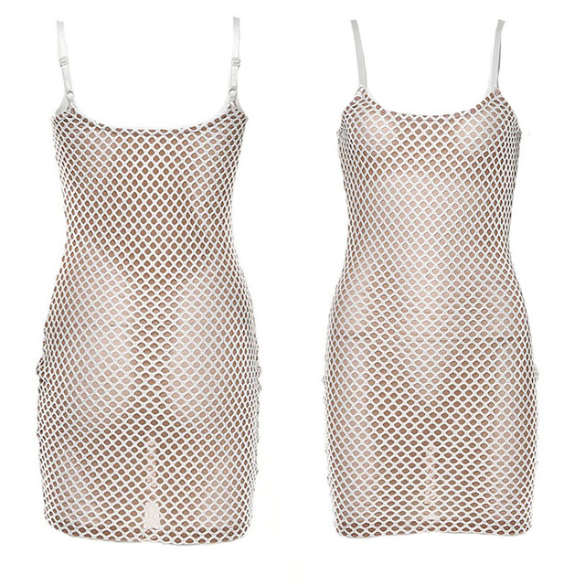 NEW Summer Spring Sexy Mesh Grid Hollow Out Patchwork Low Bust Slim Sheath Mini Dresses 6