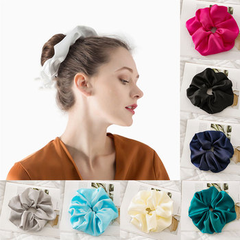 Smooth Satin Hair Rope Elastic Hair Bands Soft Silky Candy Color Women Headwear Big Oversized Scrunchies Women Hair Accessories image