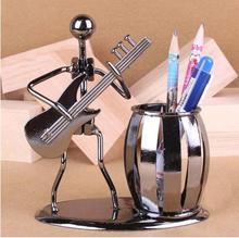 Metal Guitar Player Statue Desk Pen Holder Organizer Christmas Decoration For Girls Kids Children Home Geometric Accessories