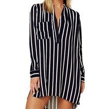 Girl V Neck Stripe Shirt Women Casual Autumn Long Sleeve  Blusas fashion female v-neck Striped Tops Dropshipping new