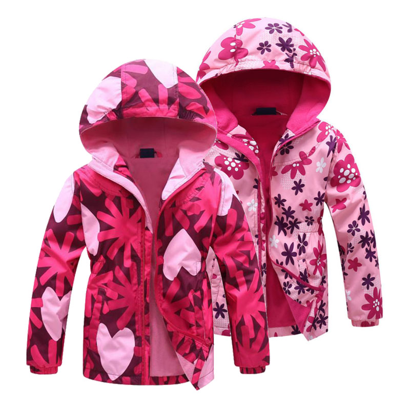 Girls Jacket 2020 Spring Children's Flower Fleece Clothes Girls Coat Windbreaker Outerwear Kids Polar Fleece Windproof 3-12T