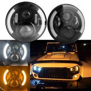 """Image 2 - 2 sztuk 7 Cal czołówki LED z efekt aureoli pomarańczowy kierunkowskaz dla lada niva 4x4 suzuki samurai 7 """"DRL Halo reflektory dla VAZ 2101"""