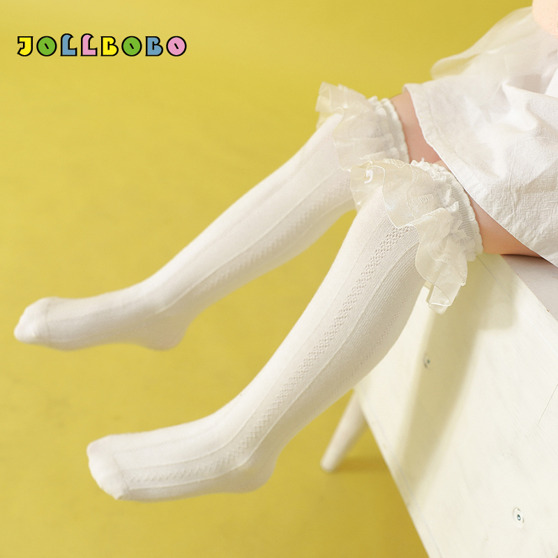 Kid Girl Knee High Socks With Lace Spring Autumn White Black Cute Ruffle Frilly Socks For Girls 3-8Y Cotton Long High Quality