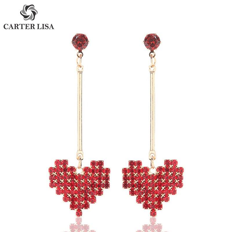 CARTER LISA Pretty Red Love Heart Rhinestone Drop Dangle Statement Earings For Women Boho Fashion Jewelry Pendientes Brinco Gift