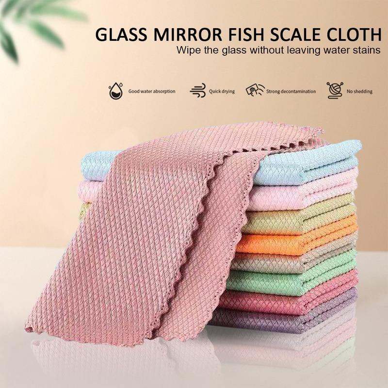 5/10 шт. специальный рыбьей чешуи салфетки для Стекло чистки домашних Ткань для очистки