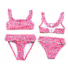 Swimsuit Two-Piece Children's Cute And Lace Girls Craft Floral-Bow Fresh 4-16-Years-Old