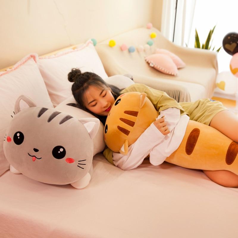 50/130 Cm Long Cat Pillow Plush Toy Soft Stuffed Plush Animal Kids  Gift Home Decor Girl Gift WJ290
