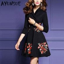 Vestido AYUNSUE a la moda para mujer, vestido negro Vintage de talla grande, Vestidos Midi elegantes de primavera, Vestidos de 2020 algodón con cuello en V, 135 Pph128