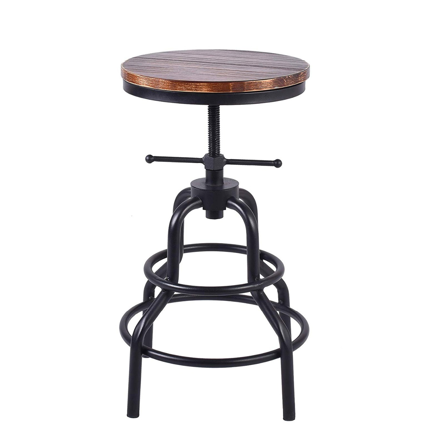 Topower Industrial Retro Pinewood Metal Bar Stool Adjustable Counter Height Swivel Pub Kitchen Round Wood Iron Bar Stools