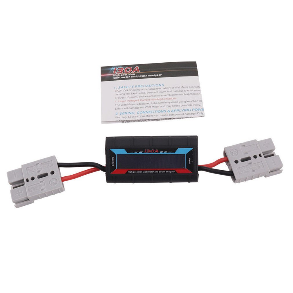 130A Watt Meter Power Analyzer Digital LCD Solar Volt Amp Anderson Style Plug