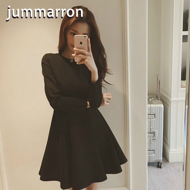 jummarron 2020 summer women <font><b>dress</b></font> Hepburn black <font><b>dress</b></font> plus size Solid street style Cotton Vintage women clothes elegant fashion image