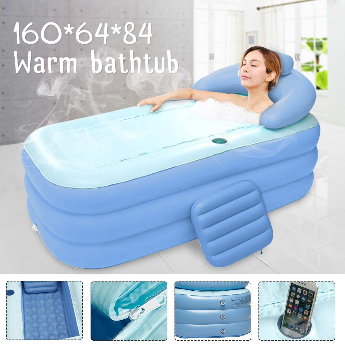 160x64x84cm Large Size Inflatable Bath Bathtub SPA PVC Folding Portable For Adults With Air Pump Household Inflatable Tub Blue