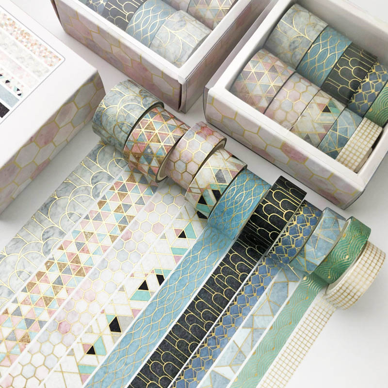 10 Pcs/Set Black Gold Washi Tape Vintage Galaxy Masking Tape Cute Decorative Adhesive Tape Sticker Scrapbooking Diary Stationery 4