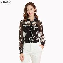 100% Natural Silk Blouses Women Fall 2019 Long Sleeve Elegant Black Floral Print Cardigan Button Real Silk Shirt Office Lady цена 2017