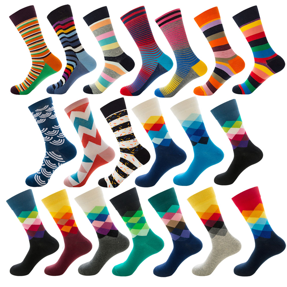 Mens Happy Striped Socks Quality Plaid Diamond Sock Men Combed Cotton Calcetines Largos Hombre