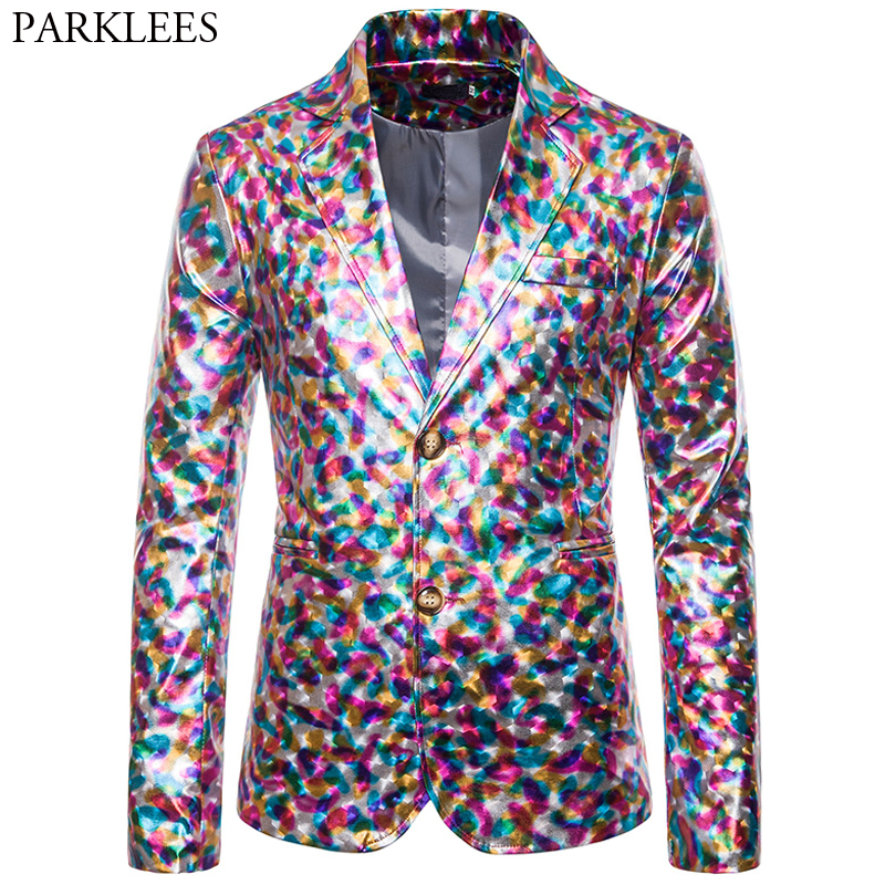 Colourful Glossy Blazer Men Two Button Suit Coat Men Blazers Wedding Party Nightclub Stage Dj Performance Mens Suit Jacket Male
