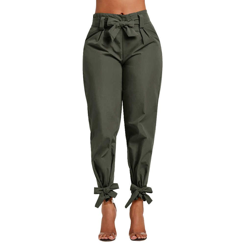 Novedad Del 2020 Pantalones Holgados Con Lazo Volantes Para Mujer Pantalones Informales Con Cinturon De Talle Alto Solido Pantalones Con Bolsillos Para Mujer De Primavera Pantalones Con Fajas Para Mujer Pantalones Y Pantalones