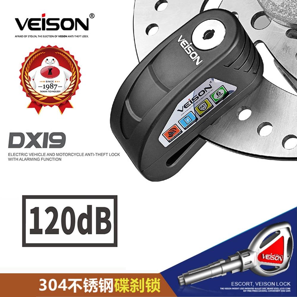 Veison Scooter Disc Lock Waterproof Alarm Lock For Bike Alarm Anti-theft Safety Motorcycle Brake Rotor Padlock Disc Brake Lock