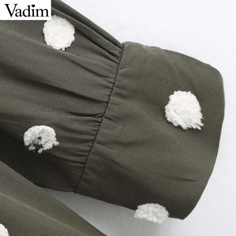 Image 5 - Vadim women elegant polka dots design mini dress V neck long sleeve female casual Straight style dresses vestidos QD044Dresses   -