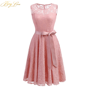 BeryLove Blush Pink Short Homecoming Dresses 2019 Lace A line Belt Mini Length Scoop Neckline Girl Cute Party Graduation Gown(China)