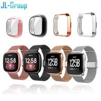 Correa para Fitbit Versa 2 3 Sense Lite con carcasa de pantalla TPU, Protector de parachoques para pulsera de Metal, accesorios para reloj Versa