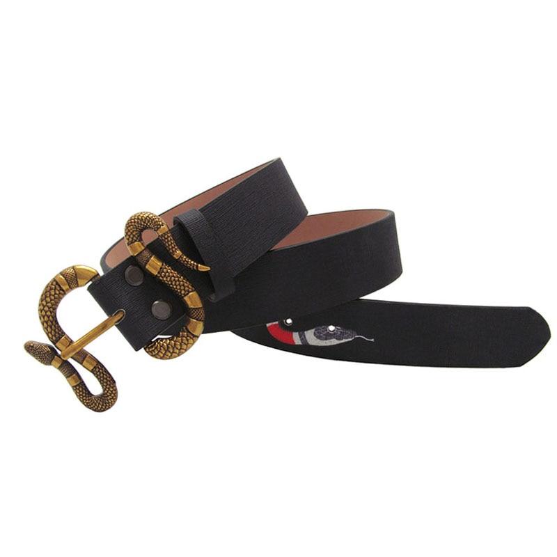 Western Snake Print Leather Snake Buckle Men Belt Vintage Black Green Leather Men Strap Belt|Men's Belts|   - AliExpress