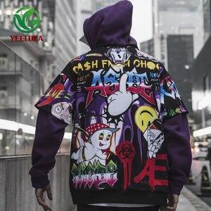 Image 3 - Sudadera con grafiti para hombre, ropa informal de Hip Hop, moda urbana, Top de gran tamaño, 2019