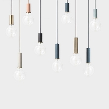 220 volt industrial led hanging lamp commercial small suspended lighting fixtures for homes restaurant cheap ZHTES Painted D19082301 Cord Pendant White Black Blue Pink Touch On Off Switch Parlor Master Bedroom other bedrooms Study