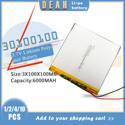 30100100 li-ion battery 3.7V 6000mAh lithium polymer batteries for pc texet TM-7858 lrbis TZ 82 7 inch 8 inch 9inch tablet cell