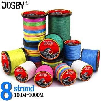 Hilo de Pesca con mosca JOSBY, 8 hebras de PE, cable trenzado de carpa, cable de Multifilamento giratorio de mar, 12 ~ 120LB 1000M 500M 300M 100M