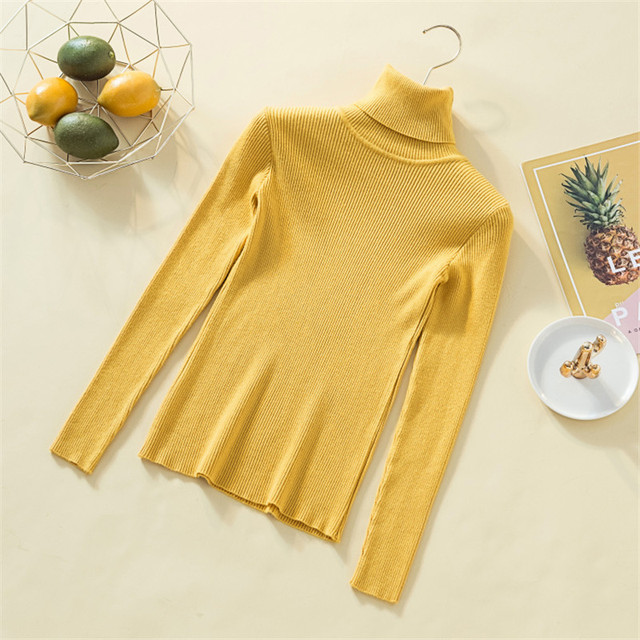 Knit Sweater Women Turtleneck Casual Pure Cashmere Pullover Autumn Winter Solid Long Sleeve Slim-jumper Soft Tops Pull Femme 3