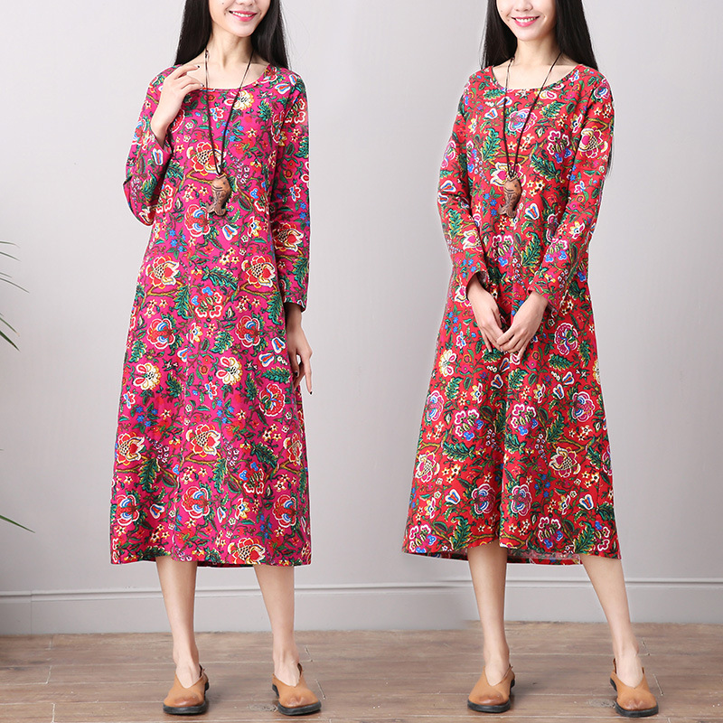 Photo Shoot 2019 Spring Clothing National Wind Retro Printed Cotton Linen Dress Loose And Plus-sized Long Sleeve Base Skirt