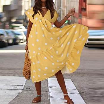 ZANZEA 2020 verano bohemio Polka Dot Printed Midi vestido de mujer vestido de verano cuello pico manga corta Casual partido Vestidos Femme Robe