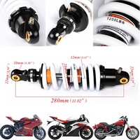 TDPRO 280mm Rear Back Shock Absorber Motorcycle Suspension Spring Fit for 125cc 140cc 160cc Dirt Pit Pro Bike Quad ATV 1200Lbs