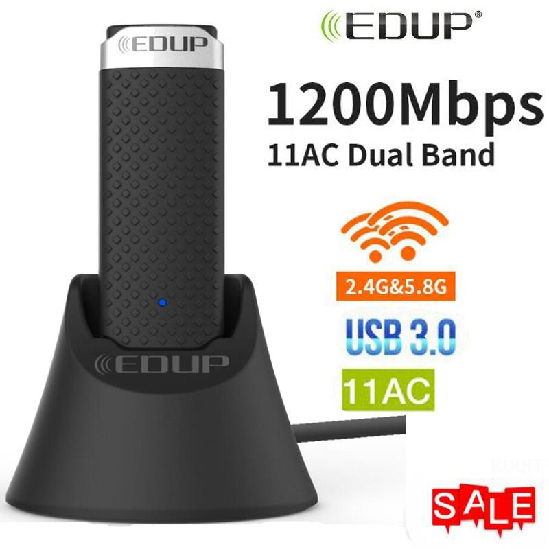<font><b>USB</b></font> <font><b>3.0</b></font> 1200Mbps Wifi Adapter 5Ghz Dual Band 5GHz 2.4Ghz <font><b>802.11AC</b></font> Wifi Dongle Wireless Network Card For PC with 1m extend cable image