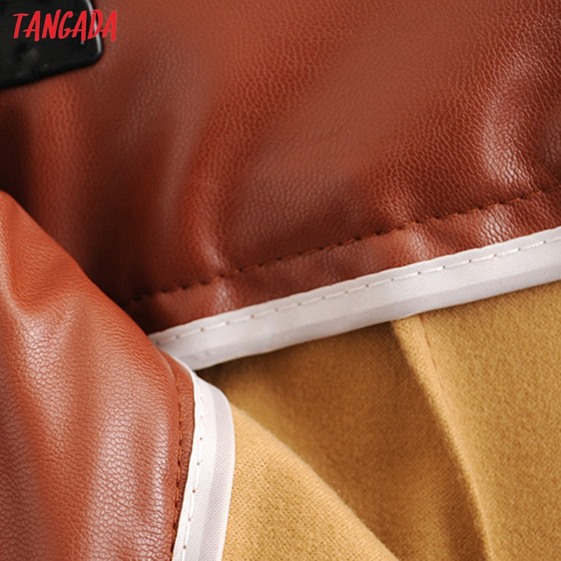 Tangada women black faux leather suit pants high waist pants sashes pockets 2019 office ladies pu leather trousers 6A05 75