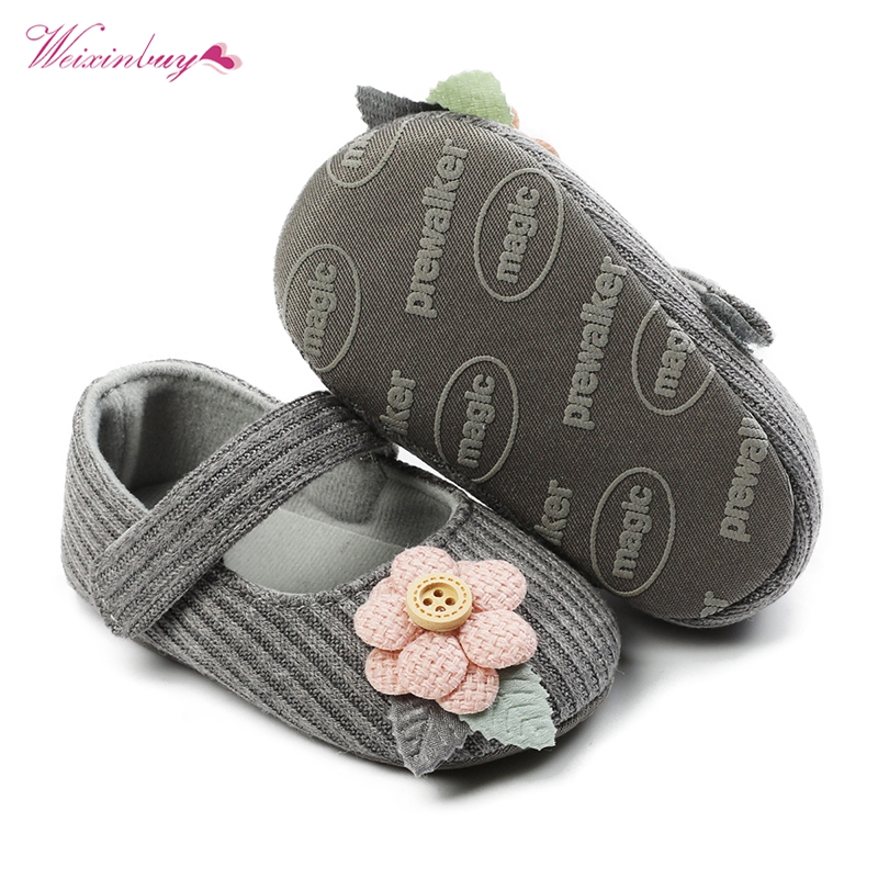 2020 Kids Baby Girl Embroidery Flower Soft Sole Crib Shoes Cotton Prewalker Shoes Newborn Shoes First Walker
