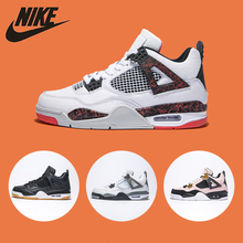 Nike Jax Air Jordon 4 AJ4 Men Basketball Shoes Comfortable basketball shoes Original Heat Lava Air Cushion Sneakers#308497-116 nike air jordan 4 original men basketball shoes non slippery wear resisting air cushion outdoor sports sneakers 308497