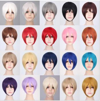 цена на Cheap Synthetic Hair Short Bob Wigs With Bangs Heat Resistant Grey Pink Purple Blonde Black White Blue Red Anime Cosplay Wig