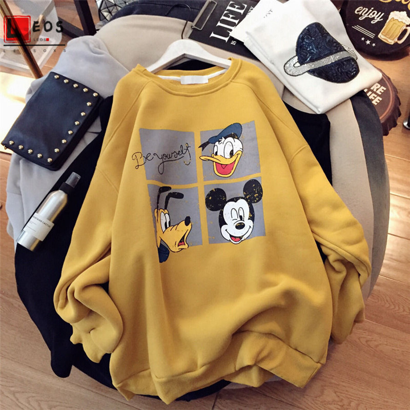 Cartoon Women Hoodie Mickey Print Casual Loose Pullover For Girls Long Sleeve Spring Autumn Thin Sweatshirt Fashion Female Tops