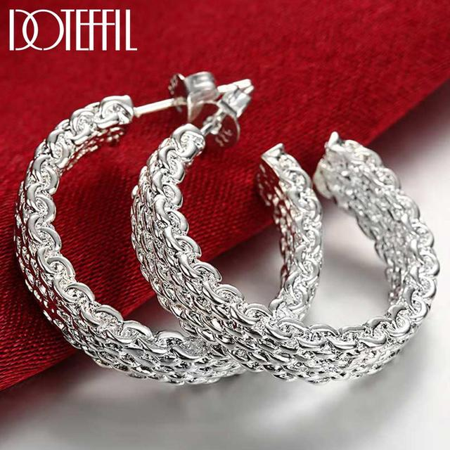 DOTEFFIL Fashion 925 Sterling Silver Earring For Women Round Stud Earring Christmas Gift Party Wedding Jewelry Free Shipping 1