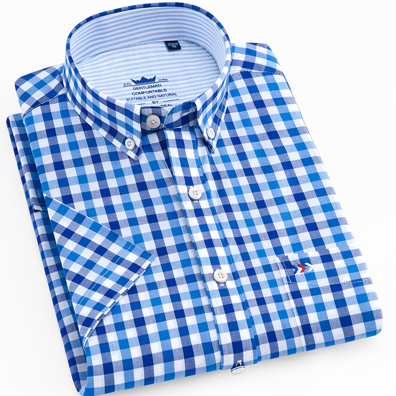 Men's Summer Casual Short Sleeve Plaid Checkered Cotton Shirt Single Patch Pocket Standard-fit Thin Button Down Gingham Shirts