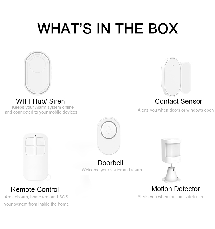 H1aea0e349fa04fd290c322db128c701fn - CPVAN Wireless Doorbell Alarm System Smart WIFI Doorbell Strobe Siren Tuya App 58 Sound Compatible Home Security Alarm System