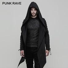 Gabardina PUNK con capucha para hombre, abrigo masculino de algodón, tejido inelástico, holgado, corte Irregular, dobladillo afilado, ojales, chaquetas de manga con cordón