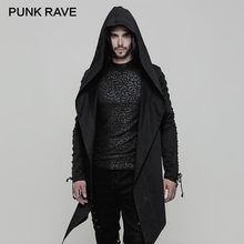 PUNK RAVE Punk Frühling Mit Kapuze Graben Baumwolle Unelastisch Woven Lose Männer Mantel Unregelmäßige Sharp Rand Ösen Kordelzug Hülse Jacken
