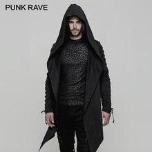 PUNK RAVE Punk Mùa Xuân Có Mũ Trùm Đầu Rãnh Cotton Không Đàn Hồi Dệt Rời Áo Khoác Nam Không Đều Sắc Nét Viền Dây Giả Dây Kéo Tay Áo
